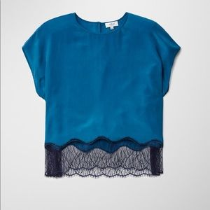 • Wilfred • Yvette Silk Lace Hem Blouse Teal Blue